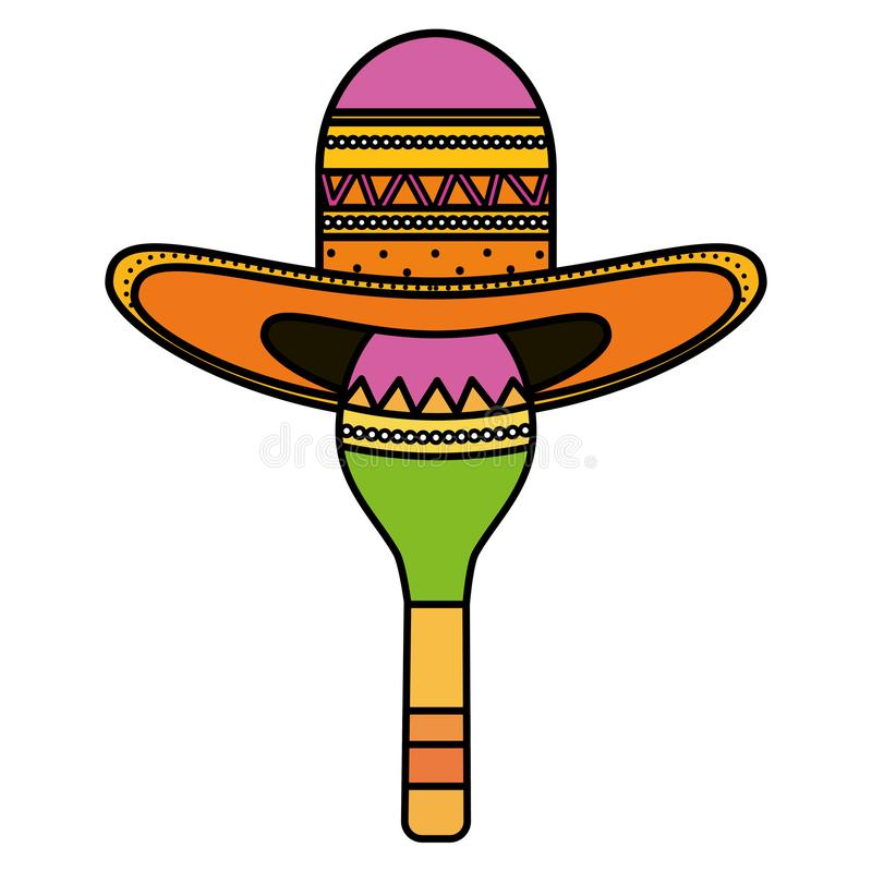 Maraca with mexican hat. Vector illustration design royalty free illustration