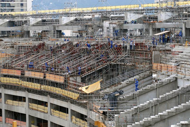 Maracanã Stadium. Rio de Janeiro, Brazil, January 19, 2012. Workers working on the remodeling of the Maracana stadium for the 2014 World Cup royalty free stock photos
