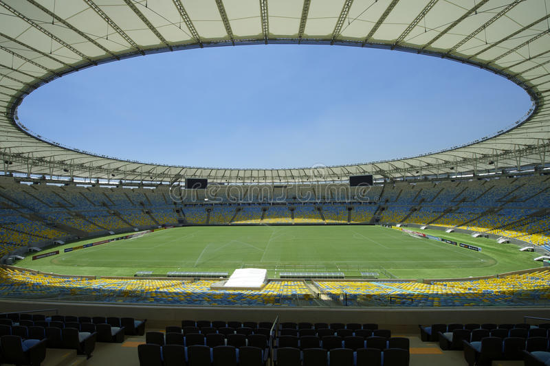 Maracana Football Stadium Seating and Pitch. View of Maracana football soccer stadium from the grandstand, after two years of extensive renovation and stock photos