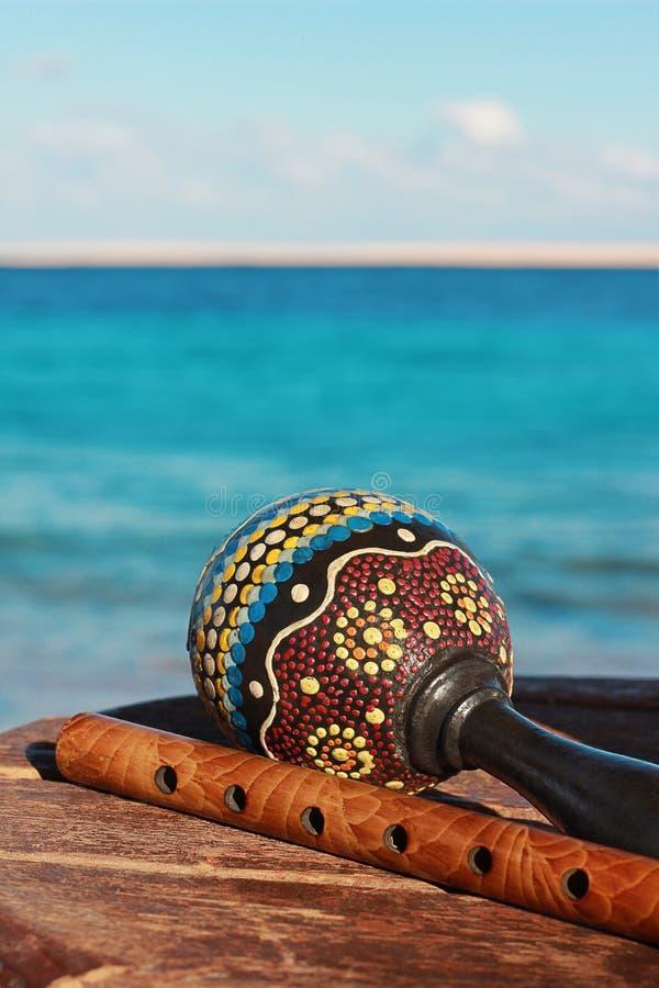Maracas και fife με ένα υπόβαθρο θάλασσας στοκ εικόνα με δικαίωμα ελεύθερης χρήσης