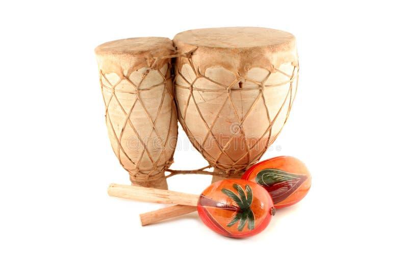 Maracas e tamburo fotografia stock libera da diritti