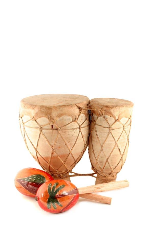 Maracas e tamburo immagini stock