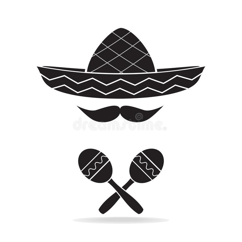 Maracas and hat icon, Mexican style stock illustration