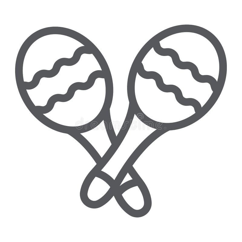 Maracas linje symbol, musik och slagverk, mexikanskt musikinstrumenttecken, vektordiagram, en linjär modell på ett vitt royaltyfri illustrationer