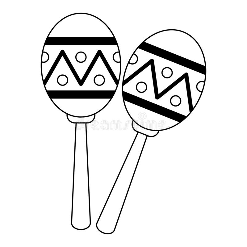 Maracas music instrument latin symbol black and white vector illustration