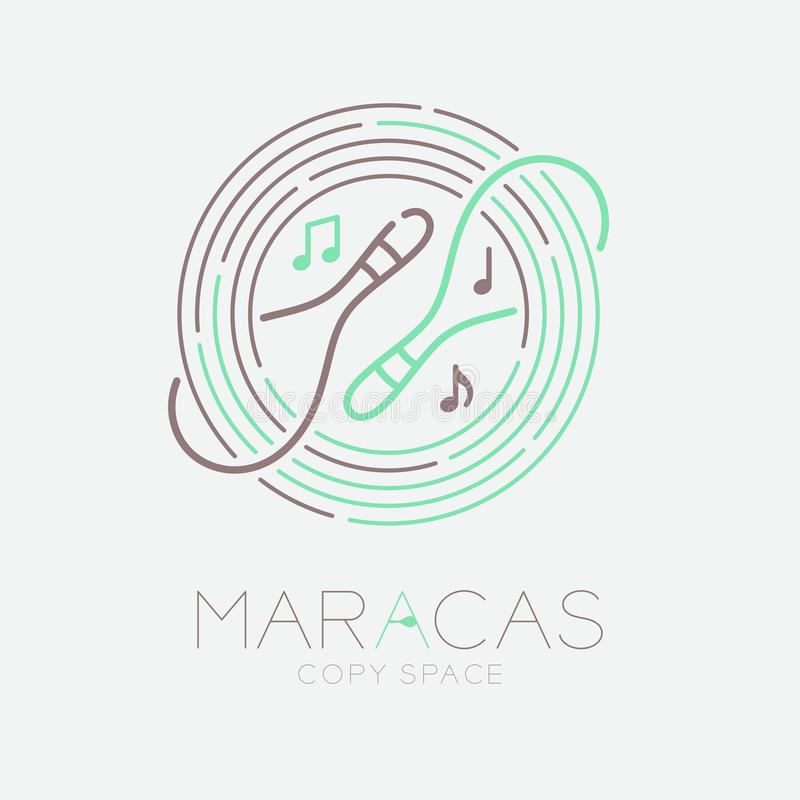 Maracas, music note with line staff circle shape logo icon outline stroke set dash line design illustration isolated on grey. Background with saxophone text and royalty free illustration
