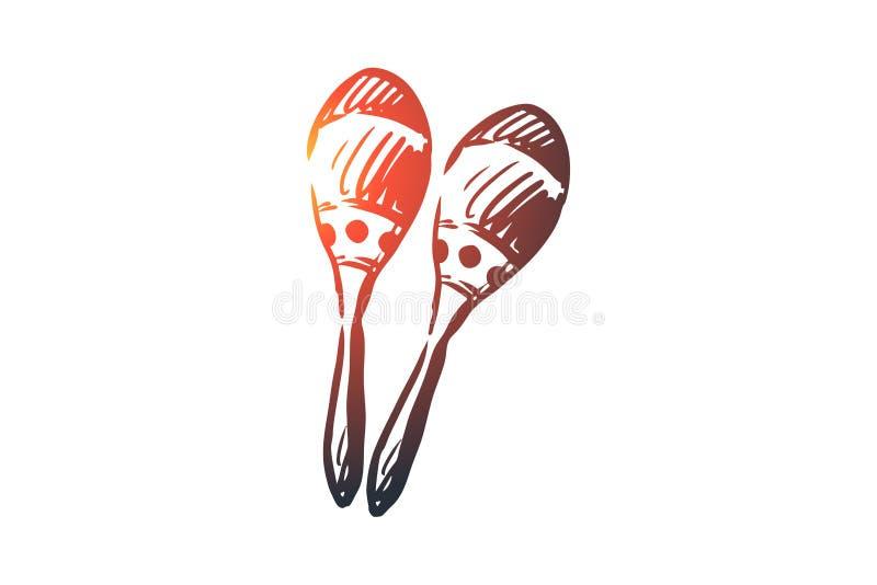 Maracas, muziek, Latijn, instrument, Mexicaans concept Hand getrokken geïsoleerde vector stock illustratie