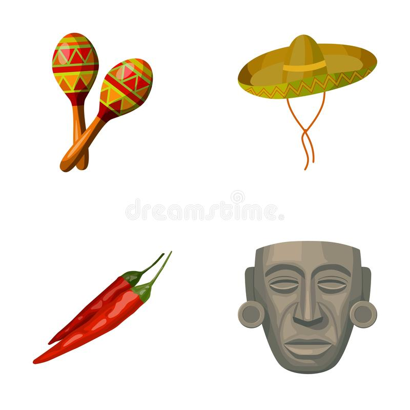 Maracas nationaal muzikaal instrument, sambrero traditioneel Mexicaans hoofddeksel, bittere Spaanse peper, idool-deity mexico stock illustratie