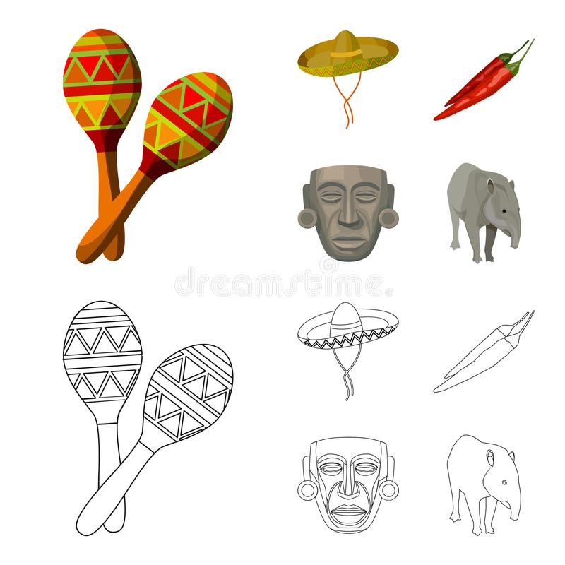 Maracas national musical instrument, sambrero traditional Mexican headdress, red pepper, bitter, idol-deity.Mexico. Country set collection icons in cartoon stock illustration