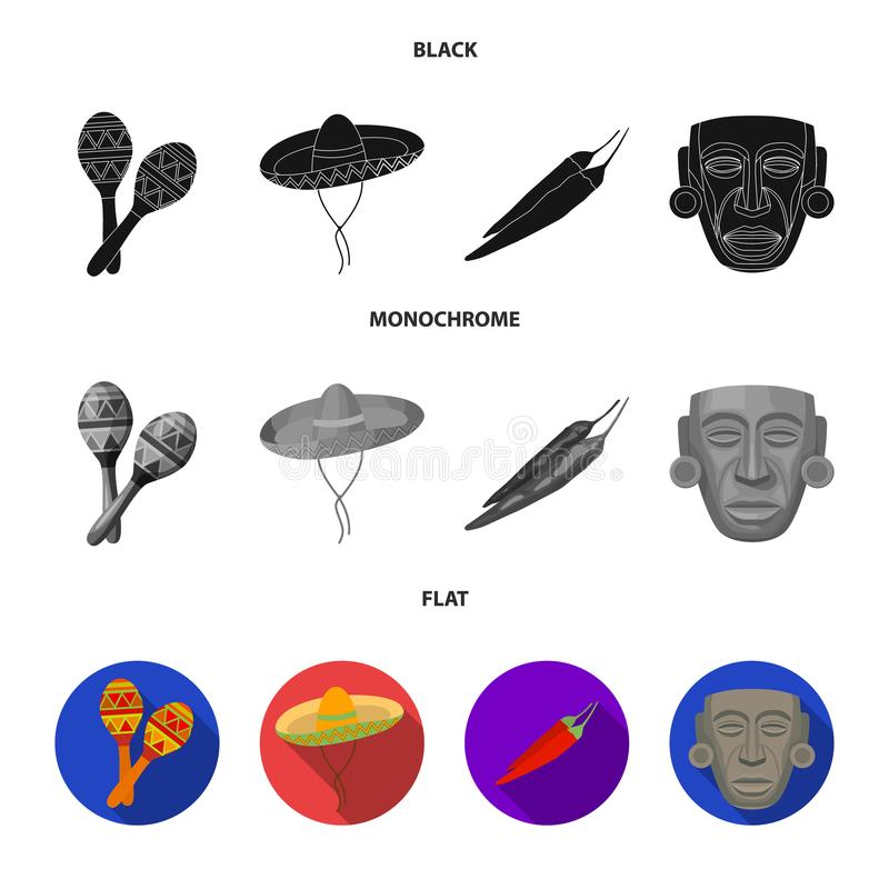 Maracas national musical instrument, sambrero traditional Mexican headdress, red pepper, bitter, idol-deity.Mexico. Country set collection icons in black, flat stock illustration