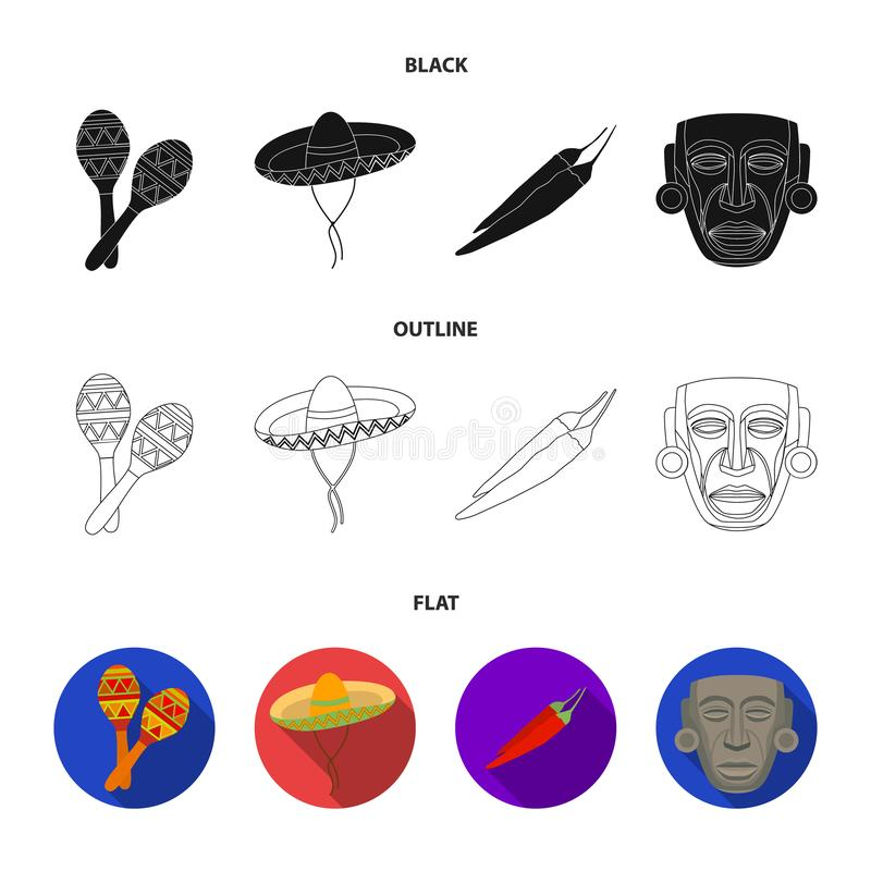 Maracas national musical instrument, sambrero traditional Mexican headdress, red pepper, bitter, idol-deity.Mexico. Country set collection icons in cartoon vector illustration