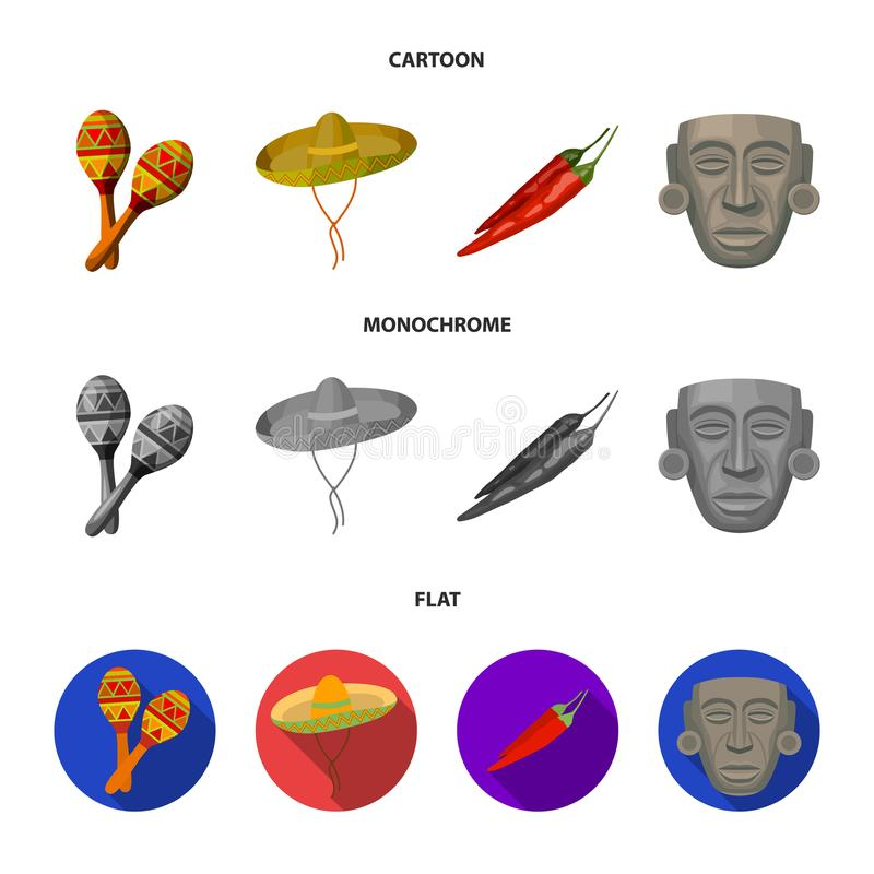 Maracas national musical instrument, sambrero traditional Mexican headdress, red pepper, bitter, idol-deity.Mexico. Country set collection icons in cartoon,flat vector illustration