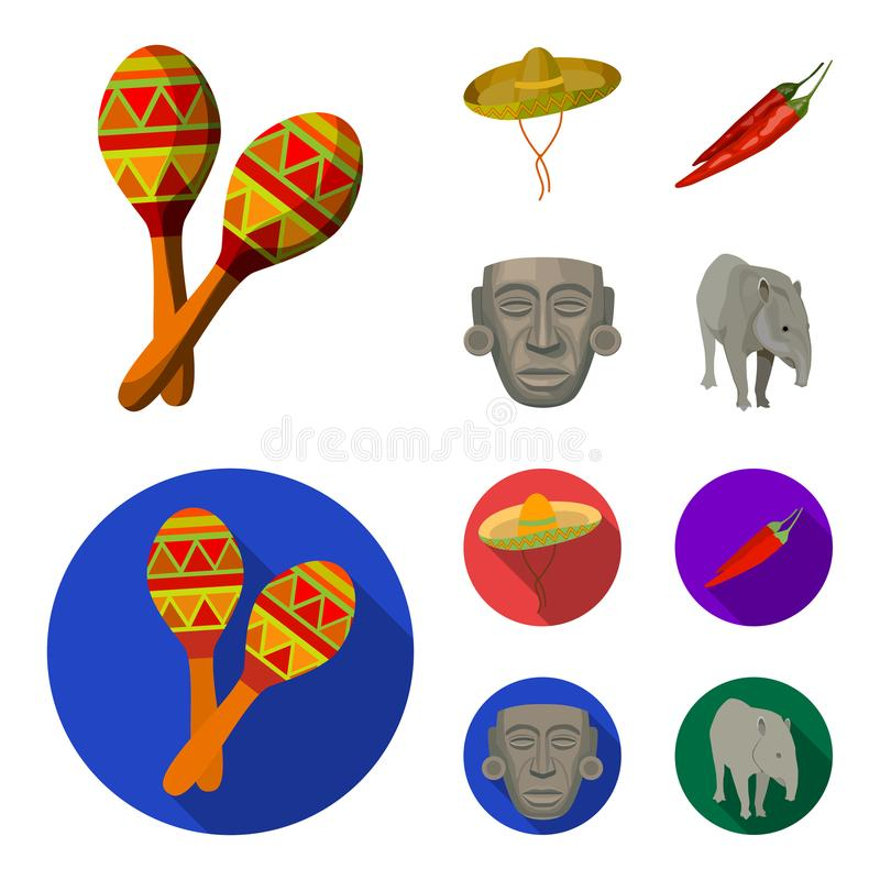 Maracas national musical instrument, sambrero traditional Mexican headdress, red pepper, bitter, idol-deity.Mexico. Country set collection icons in cartoon,flat royalty free illustration