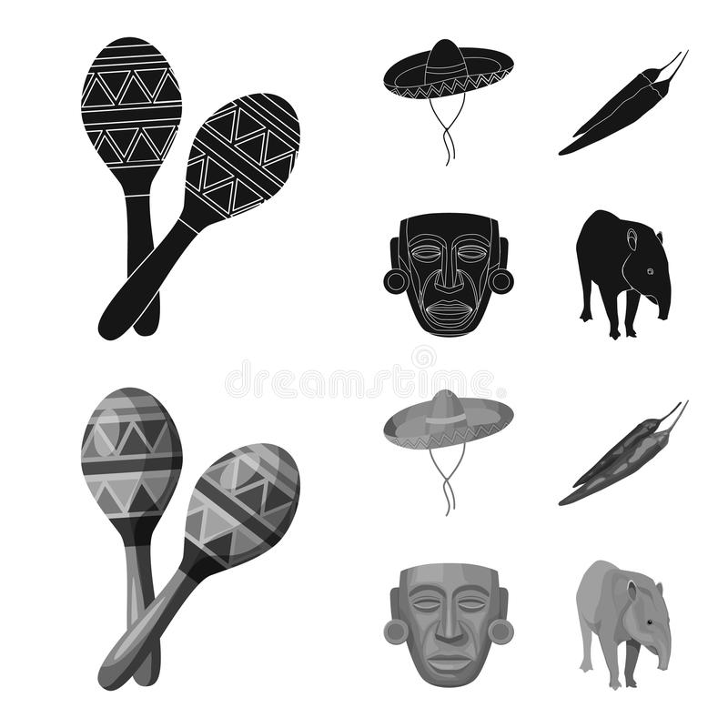 Maracas national musical instrument, sambrero traditional Mexican headdress, red pepper, bitter, idol-deity.Mexico. Country set collection icons in black stock illustration