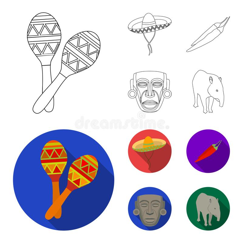 Maracas national musical instrument, sambrero traditional Mexican headdress, red pepper, bitter, idol-deity.Mexico. Country set collection icons in outline,flat vector illustration