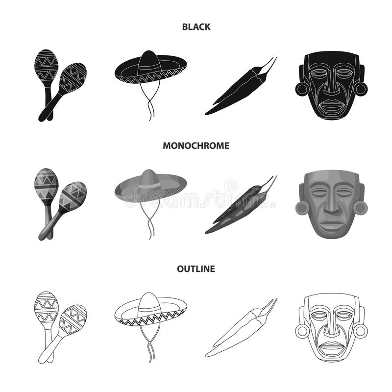 Maracas national musical instrument, sambrero traditional Mexican headdress, red pepper, bitter, idol-deity.Mexico. Country set collection icons in black royalty free illustration