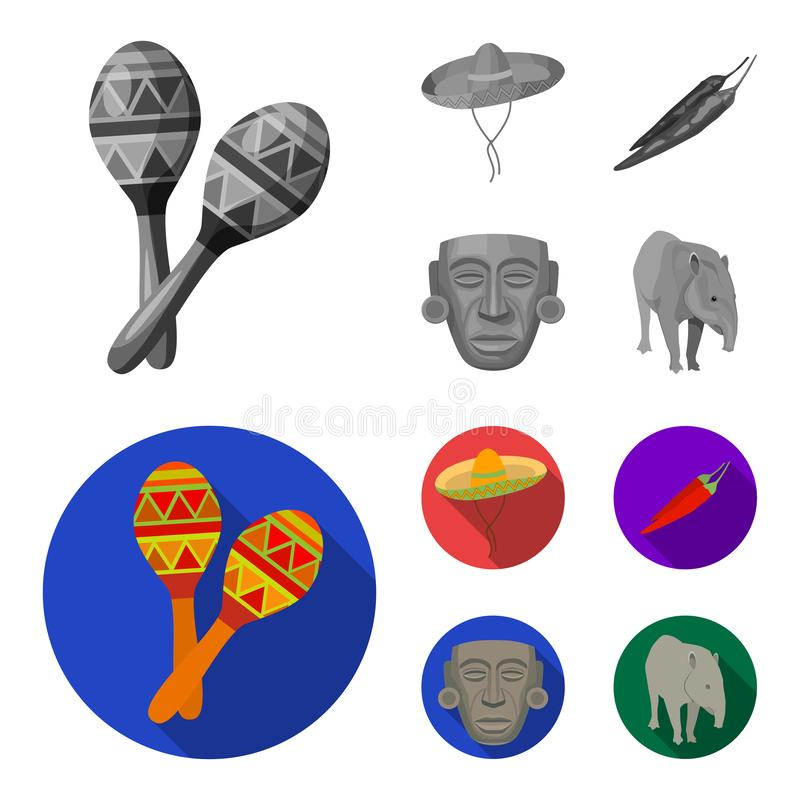 Maracas national musical instrument, sambrero traditional Mexican headdress, red pepper, bitter, idol-deity.Mexico. Country set collection icons in monochrome vector illustration