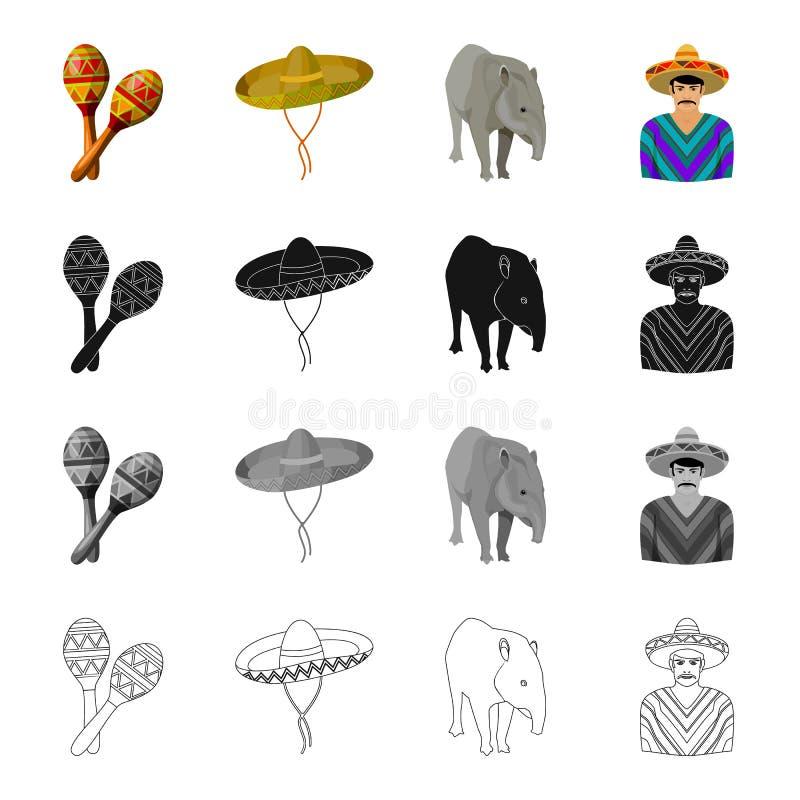 Maracas, Sombrero, Tapir, mexikanisch Gesetzte Sammlungsikonen Land-Mexikos Entwurfs-Artvektor des Karikaturschwarzen im einfarbi stock abbildung