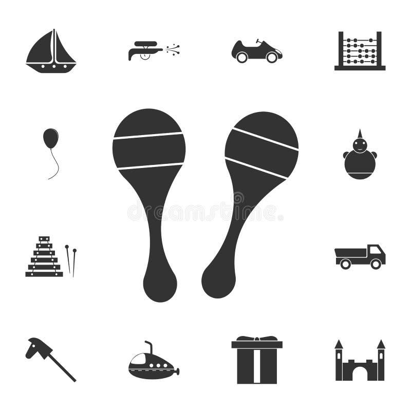 Maracas symbol Detaljerad uppsättning av leksaksymbolen Högvärdig grafisk design En av samlingssymbolerna för websites, rengöring stock illustrationer