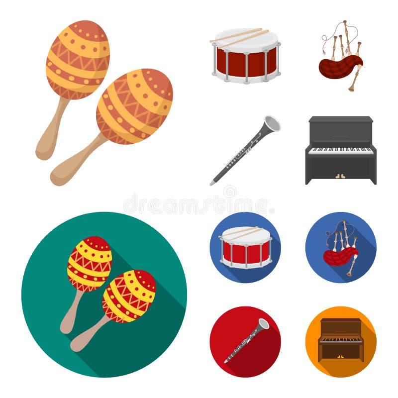 Maracas vals, skotsk säckpipa, klarinett Musikinstrument ställde in samlingssymboler i tecknade filmen, symbol för lägenhetstilve vektor illustrationer