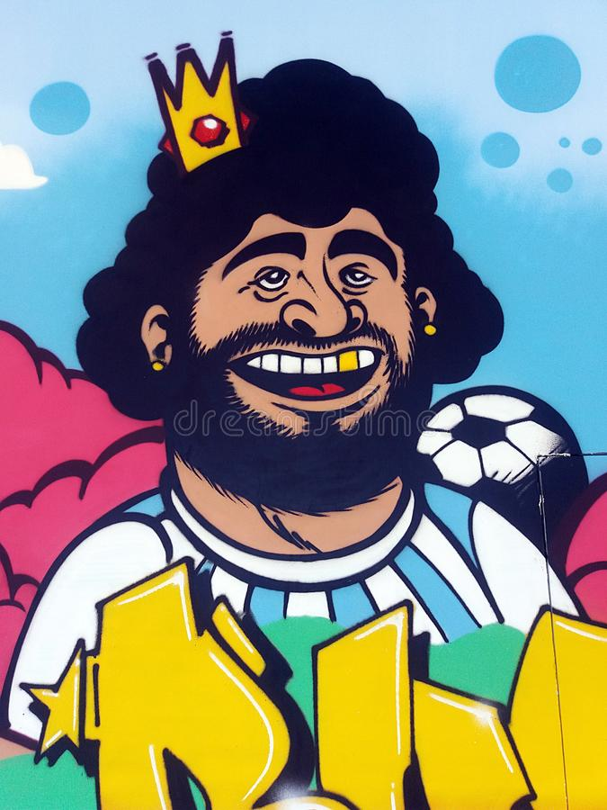 Maradona murales stock image