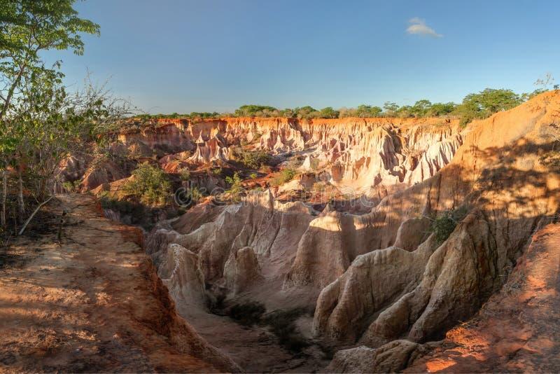 Marafa Hell`s kitchen canyon cliffs in sunset light. Malindi, stock photography