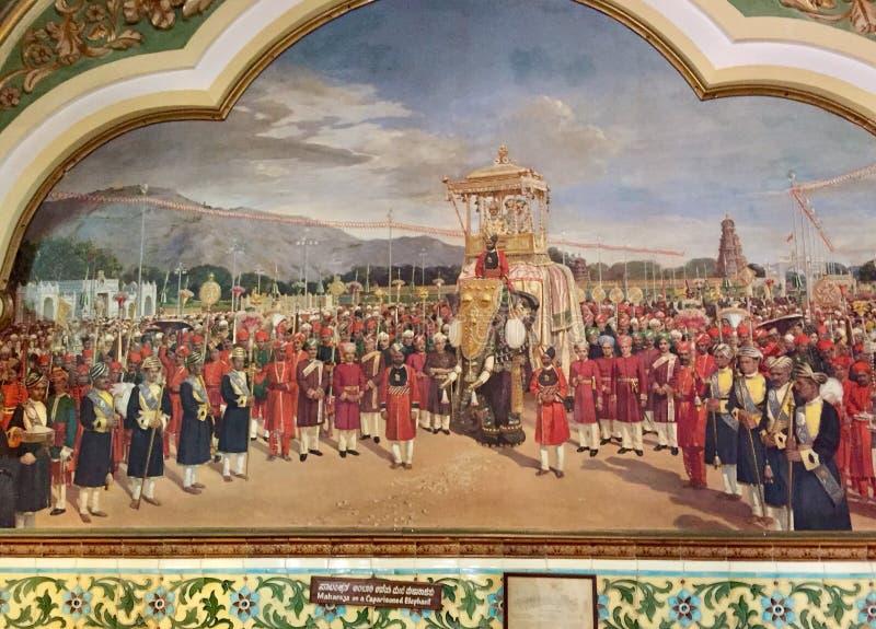 Maragià dello stato di Mysore su un elefante Caparisoned immagini stock