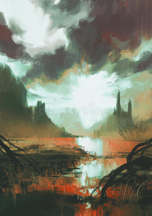 Marais rouge mystique au coucher du soleil illustration stock