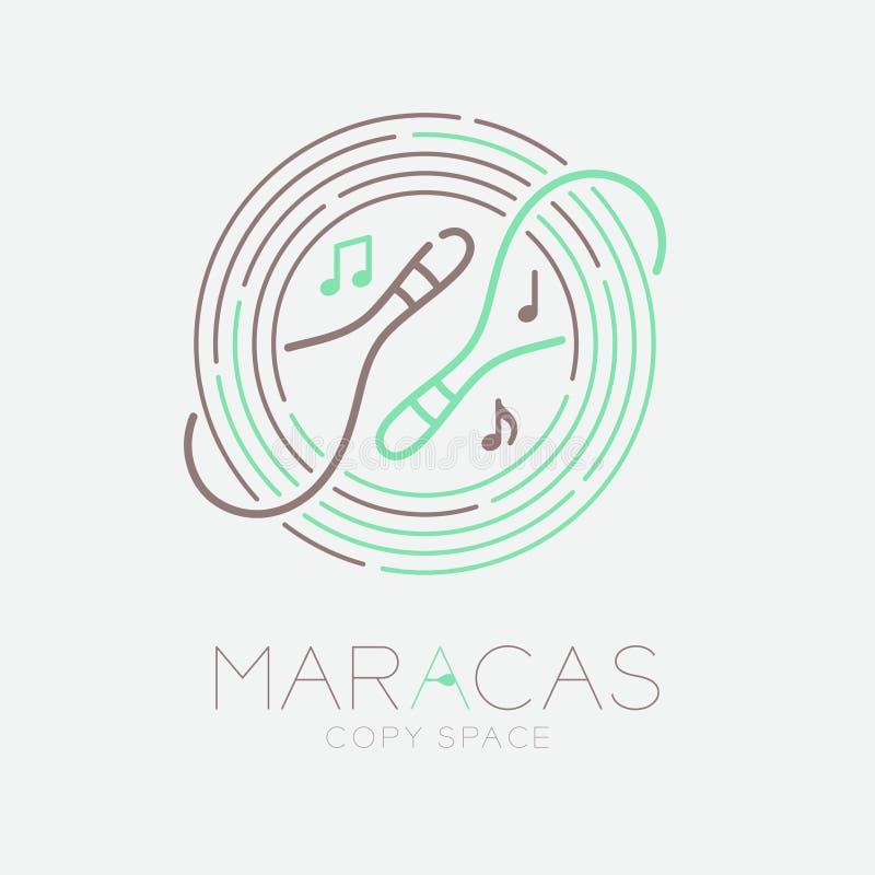 Marakasy, muzyki notatka z linia personelu okręgu kształta logo ikony konturu uderzenia junakowania linii projekta ustaloną ilust royalty ilustracja
