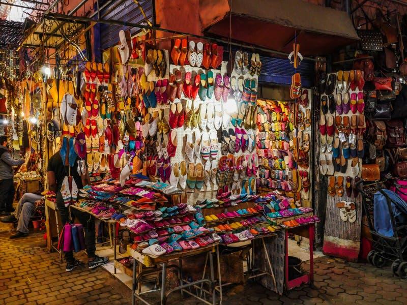 Marakech-markt voor traditionele straten stock afbeeldingen