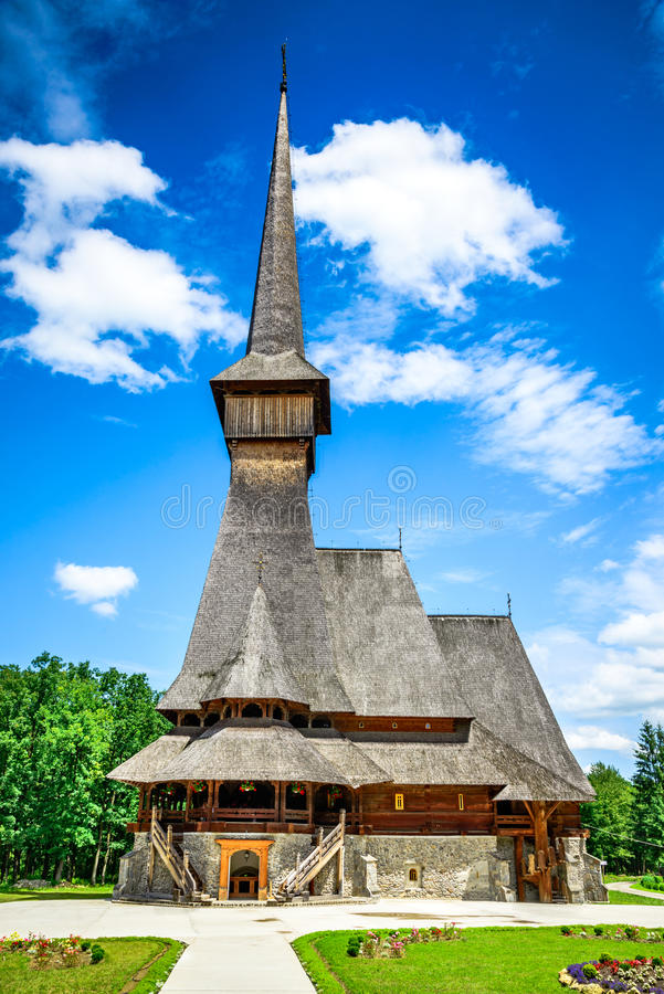 Maramures木教会,特兰西瓦尼亚,罗马尼亚 库存图片