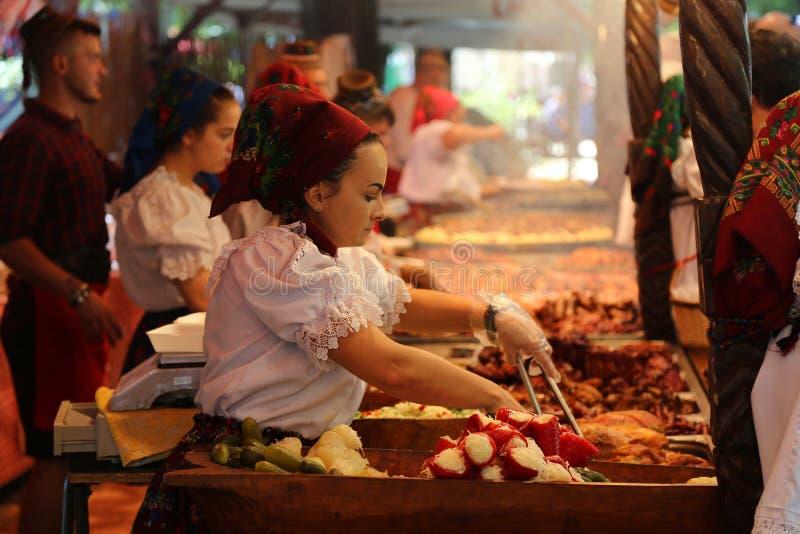 Maramuresan karmowy festiwal - romanian kuchnia zdjęcia stock