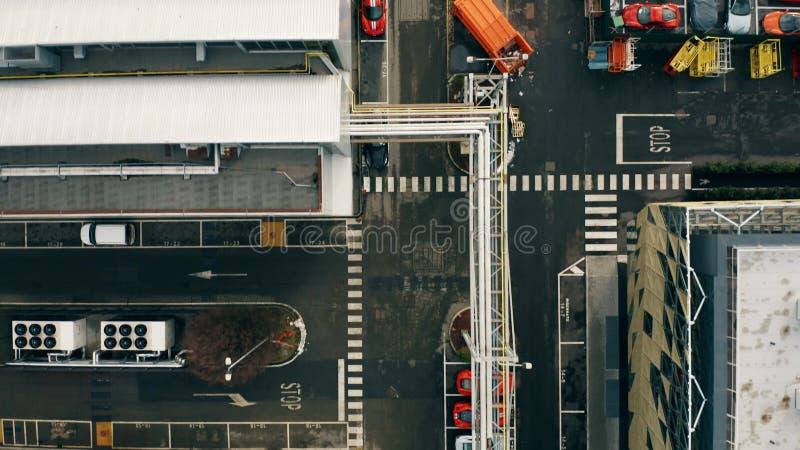 MARANELLO, ITALIA - 24 DE DICIEMBRE DE 2018 Top aéreo abajo de la vista de la fábrica del coche de Ferrari fotos de archivo libres de regalías