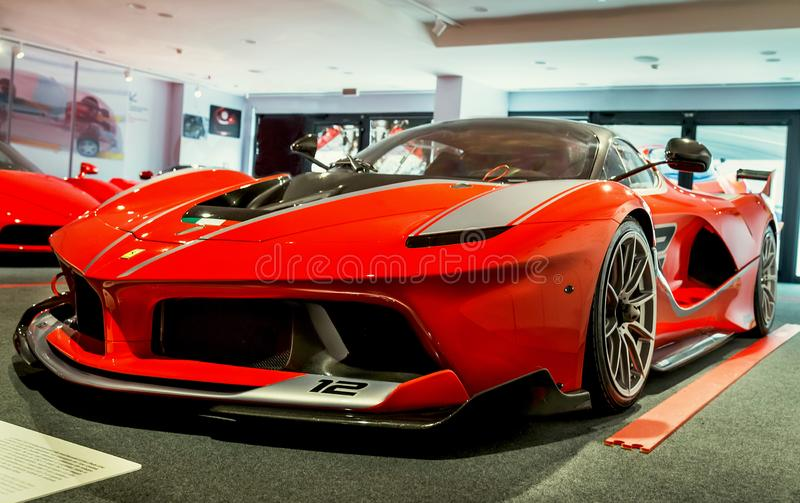 Maranello, Italy – July 26, 2017: Modern model of Ferrari. Exhibition in the famous Ferrari museum (Enzo Ferrari). stock photo