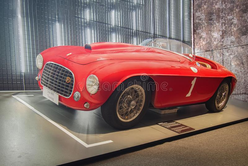 1949 Ferrari 166 MM Barchetta Touring. MARANELLO, ITALY-JULY 21, 2017: 1949 Ferrari 166 MM Barchetta Touring in the Ferrari Museum royalty free stock photo