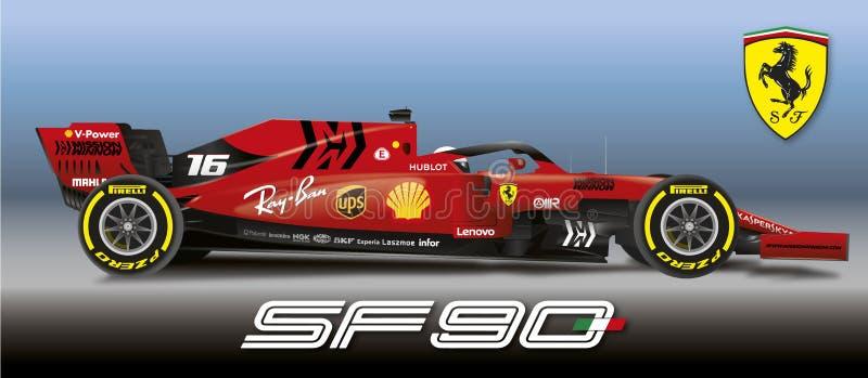 MARANELLO, MODENA, ITALIË, JAAR 2019 - Ferrari-Formule 1 SF90, de Wereldkampioenschap 2019 van Wereldformule 1 vector illustratie