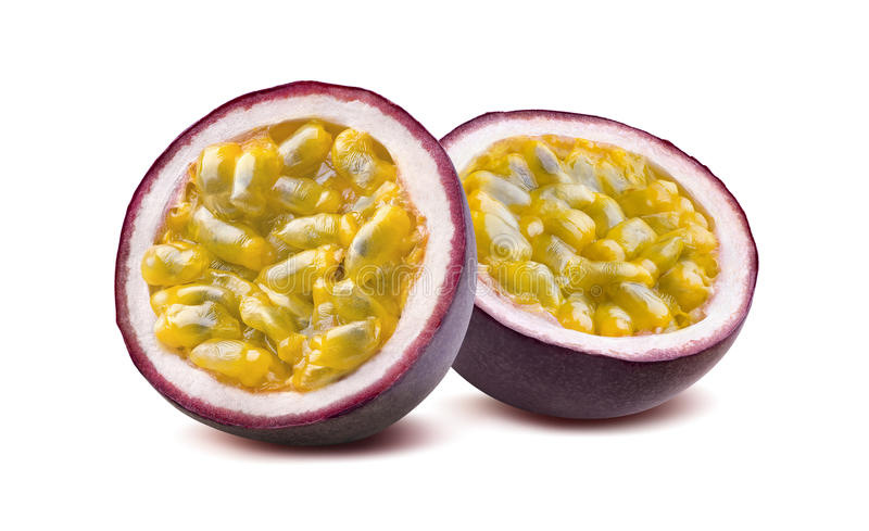 Maraquia passion fruit 2 halves isolated on white background. As package design element stock photo