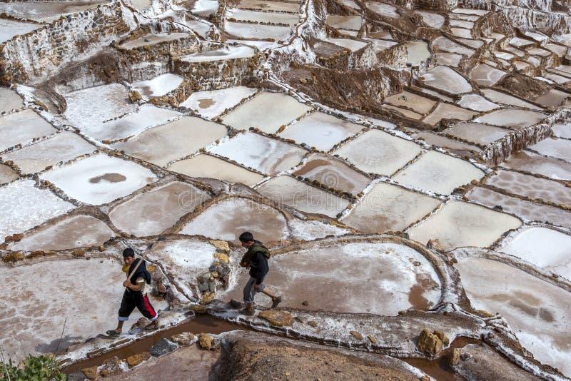 Maras盐在印加人的神圣的谷筑成池塘在秘鲁 免版税库存图片