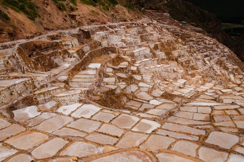 Maras & x28的盐矿; Salineras de Maras& x29; 秘鲁 免版税库存图片