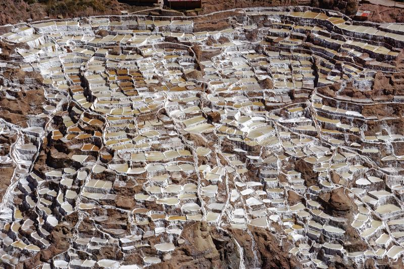 Maras Peru: pre incan salta lägenheter salta loppincaen arkivbild