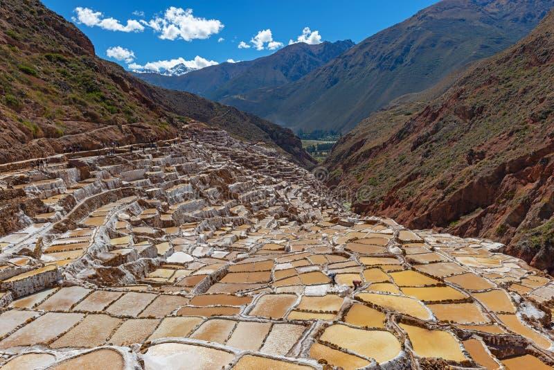 Maras Salt Terraces in Summer, Cusco, Peru royalty free stock image