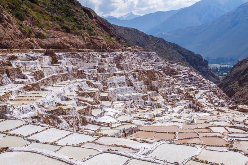 Maras solankowe kopalnie w Peru fotografia royalty free