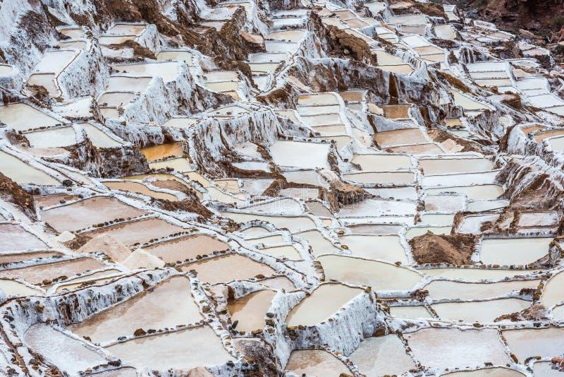 Maraszoutmijnen de Peruviaanse Andes Cuzco Peru stock foto's