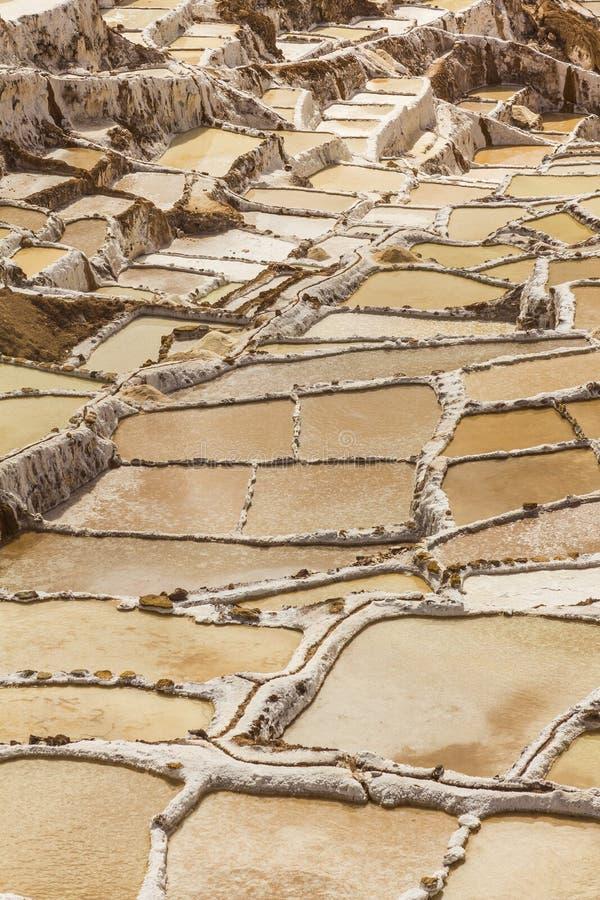 Maraszoutmijnen de Peruviaanse Andes Cuzco Peru stock fotografie