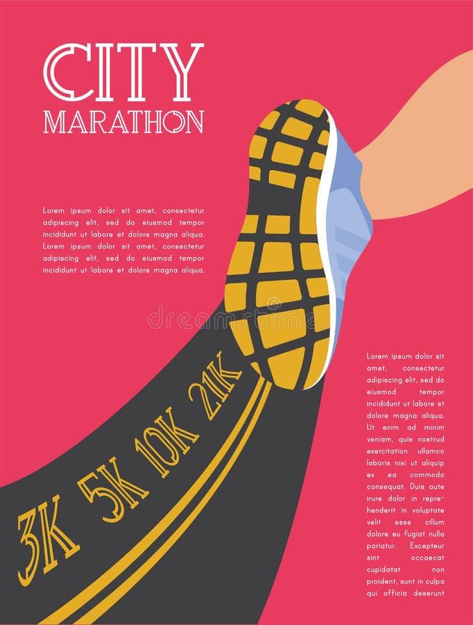 Maratón corriente de la ciudad pies del corredor del atleta que corren en el primer del camino vector del ejemplo libre illustration