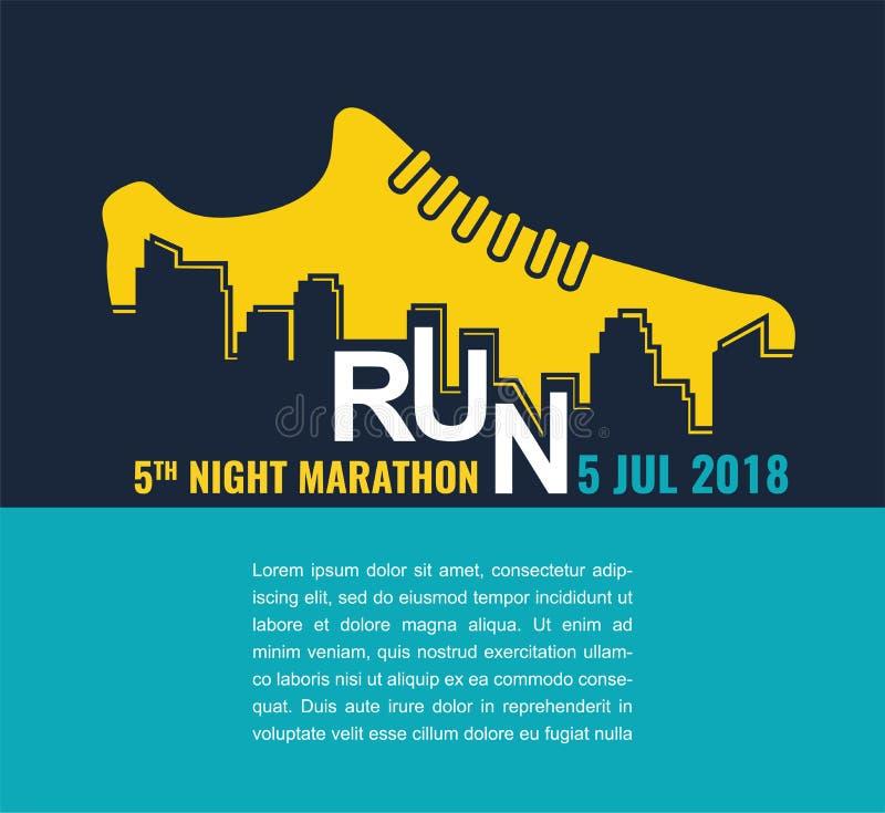Maratón de la ciudad Cartel - funcionamiento, zapato del deporte y la ciudad Ilustración del vector libre illustration
