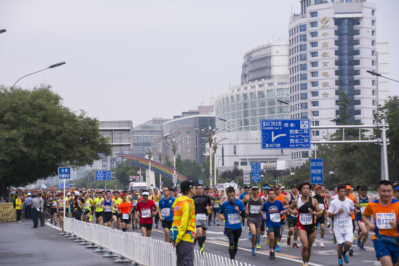 Maratón 2016 de Pekín foto de archivo libre de regalías