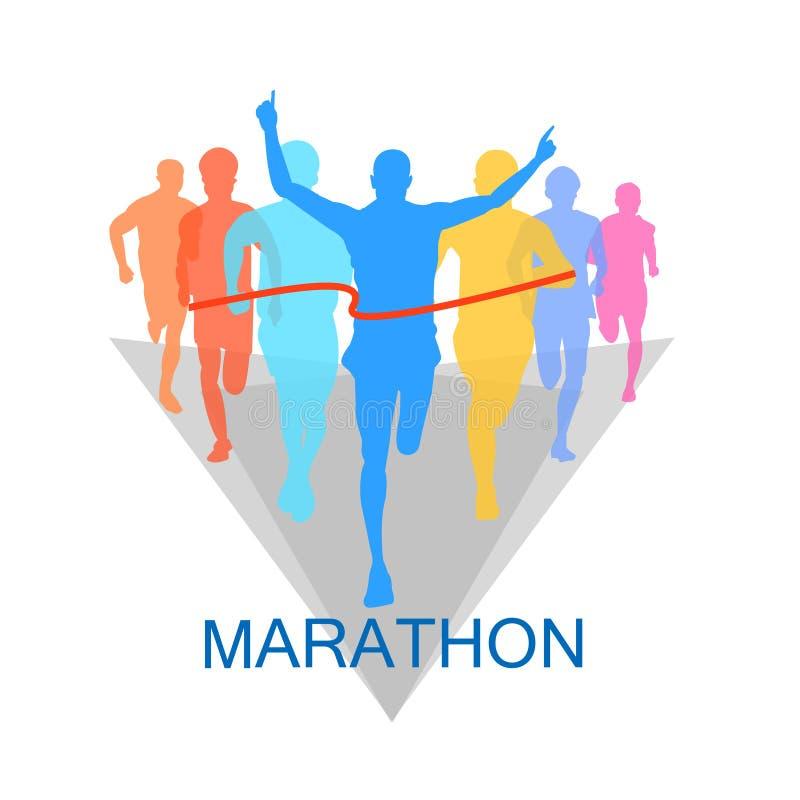 Maratón el ganador en el fondo blanco imagen de archivo libre de regalías