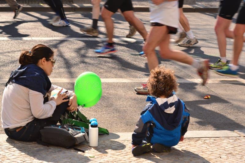 Maratón en Berlín 30.03.2014 imagen de archivo