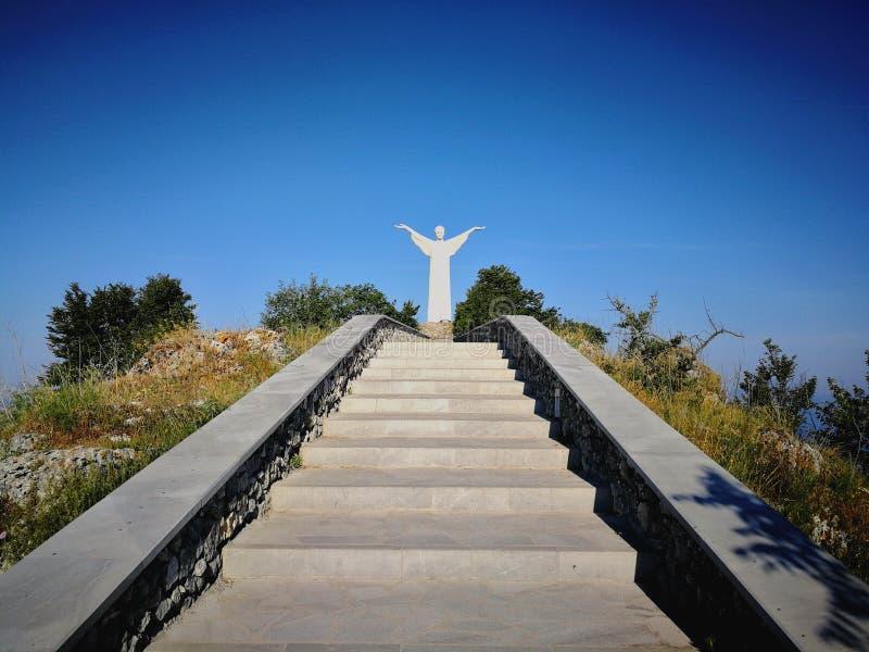 Maratea - scale al redentore Cristo immagini stock libere da diritti